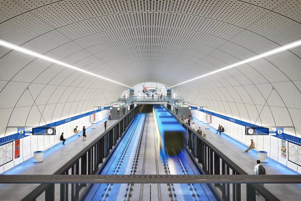 Praha představila nové návrhy stanic metra připravované linky D. Stanice Pankrác, umělecké ztvárnění Jakub Nepraš.