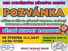Pozvánka na den otevřených dětských skupin.