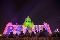 Novoroční videomapping na budovu Národního muzea 1. ledna 2020 v Praze.