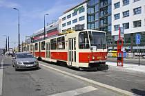 Nová tramvajová zastávka Pankrác.