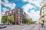 Pohled zNádražní ulice, která má vrámci plánů investora projít revitalizací a přeměnou na městský bulvár.