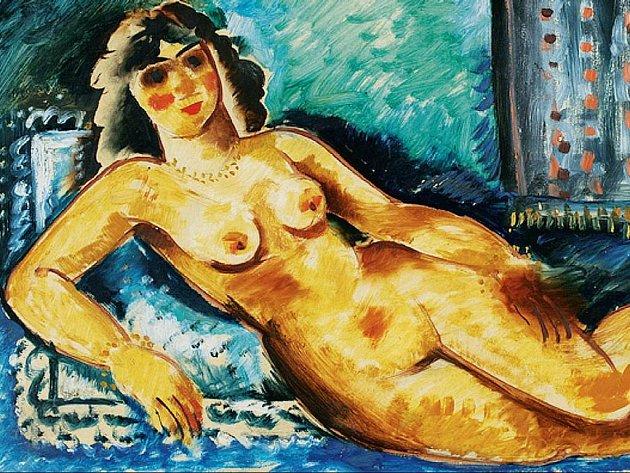 Nymfa Nyna. Antonín Procházka: Ležící ženský akt (Nyna), 1907, krajská galerie výtvarného umění ve Zlíně.
