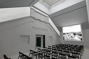Vizualizace budoucí podoby nádraží Praha-Bubny po jeho přestavbě na Památník ticha.
