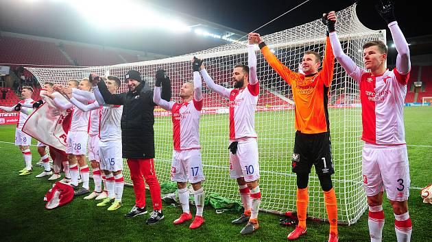 Fotbalové utkání HET ligy mezi celky SK Slavia Praha a Bohemians Praha 1905 25. února v Praze.
