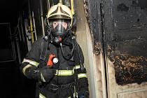 Požár bytu na Žižkově.