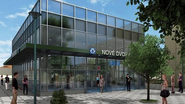 Návrh podoby exteriéru stanice metra trasy D - Nové Dvory.