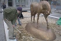 Bronzový kůň od autora Michala Gabriela nebude na náměstí sám, vedle dalších dvou koní bude součástí výzdoby vodní prvek a 24 nových stromů.
