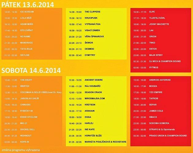 Tři scény Votvíráku 2014: oranžová je hlavní, ale slibný program nabízejí ižlutá rocková nebo červená hip hopová. Vedle nich bude na festivalu vMilovicích iněkolik hudebních barů sprogramem dlouho do rána.