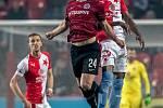 Zápas 28. kola Fortuna ligy mezi Sparta Praha a Slavia Praha, hraný 14. dubna v Praze v Sinobo stadium. Václav Drchal ze Sparty