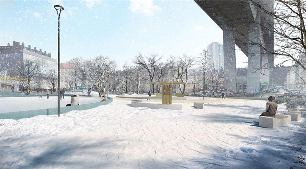 Vizualizace volnočasového areálu, který má vzniknout v parku Folimanka.