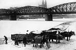 Ledaři. Zatímco na březích Smíchova to v továrnách žhnulo, na Vltavě ledaři v roce 1929 vysekávali led pro pražské domácnosti. V pozadí Vyšehradský železniční most, postavený roku 1901, kdy nahradil původní jednokolejný z roku 1872.