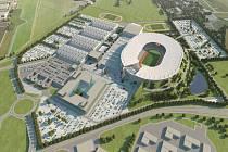 Plánovaný centrální stadion pro 65 000 diváků v Letňanech