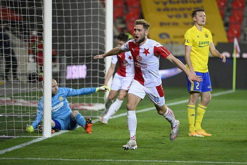 Král střelců. Slávista Jan Kuchta vstřelil Zlínu svůj třináctý gól sezony.