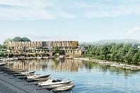 Kompletní revitalizace podolského přístavu zahrnuje jak sportovní zázemí, tak i výstavbu hotelu s restaurací - vizualizace.