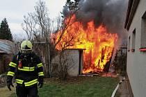 Požár kůlny v Říčanech.