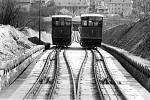 Petřínská lanovka v letech 1891 až 1916. S délkou 396,5 metru byla tehdy nejdelší dráhou svého typu v Rakousko-Uhersku.