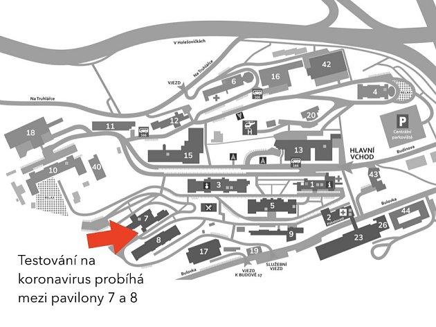 Kde najdete odběrové místo vNemocnici Na Bulovce.
