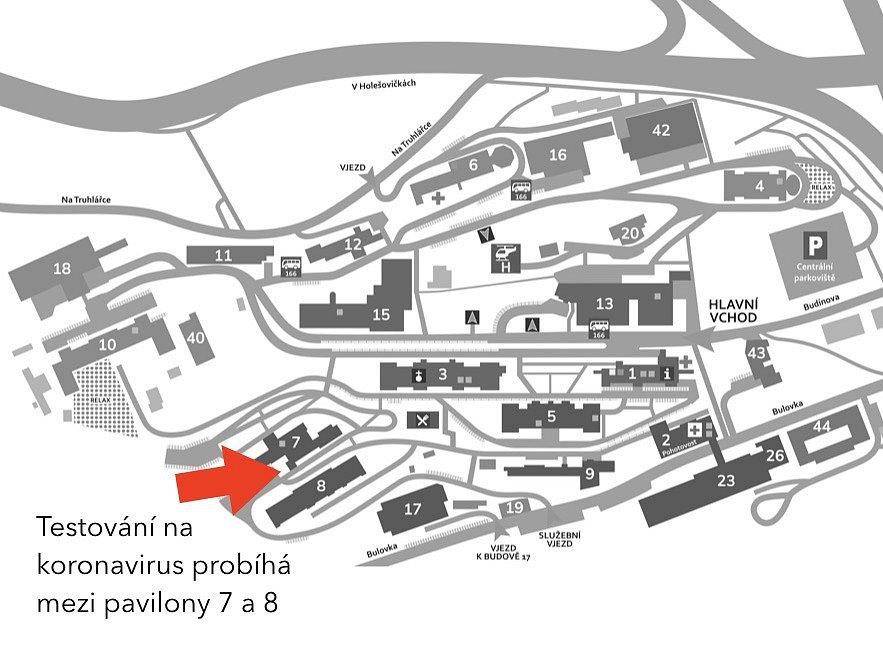 Kde najdete odběrové místo v Nemocnici Na Bulovce.