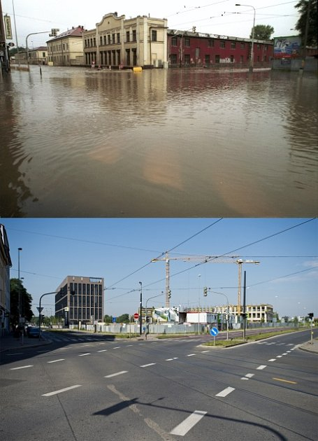 Proměna Karlína po povodních 2002.Křižovatka Sokolská, URustonky