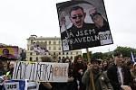 Demonstrace studentů vysokých a středních škol na obranu demokracie, ústavy a nezávislé justice #VyjdiVen 16. května 2019 v Praze.