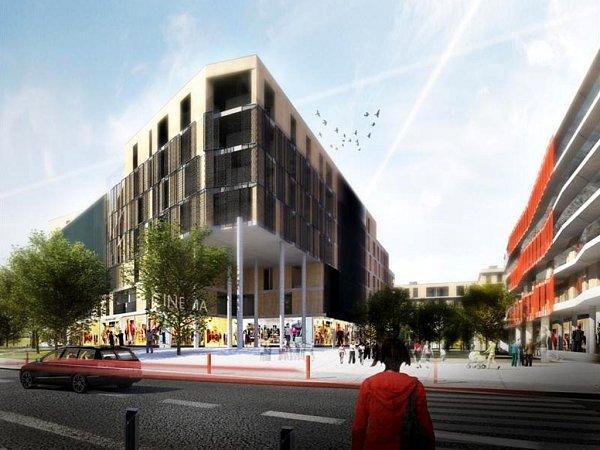 """Vizualizace: čtyři bytovky se čtyřmi sty byty a další tisíce metrů čtverečních mají zaplnit komerční plochy. Tak bude zřejmě vypadat Obytný soubor Braník, tedy nové branické """"sídliště""""."""