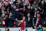 Zápas 28. kola Fortuna ligy mezi Sparta Praha a Slavia Praha, hraný 14. dubna v Praze v Sinobo stadium. Tomáš Souček se raduje z prvního golu Slavie
