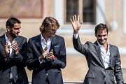 Slavnostní zahájení prvního ročníku tenisového Laver Cupu, které se konalo 20. září na Staroměstském náměstí v Praze. Marin Cilic, Alexander Zverev, Roger Federer