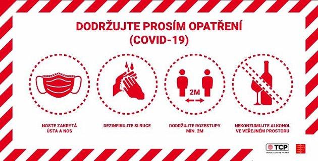 Protiepidemická opatření na pražských náplavkách. Banner.