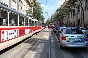 Srážka tramvají v Ječné ulici 29. června.