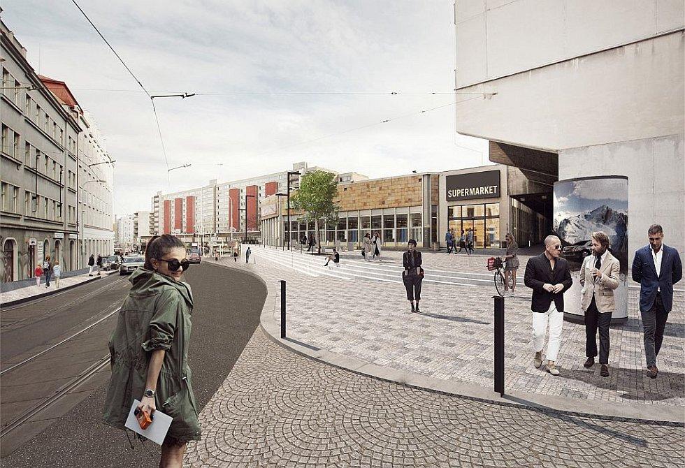 Bezovka. Podobně jako u Seifertovy ulice bude chodník a předprostor Bezovky propojen pomocí nového schodiště, které se pozvolna zapouští do terénu.
