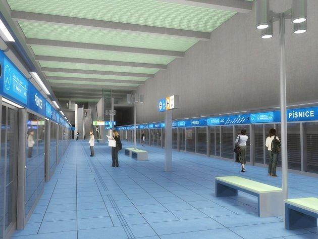 Zvažovaná budoucí podoba stanice metra D Písnice. Právě tuto stanici by měla spojit nová silnice se středočeskými obcemi.