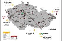 Metropolitní optická datová síť Dial Telecom na mapce České republiky.