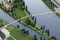 Lávka přes Štvanici. Projekt z roku 2000 počítá s propojením Holešovic a Karlína přes zelený ostrov.