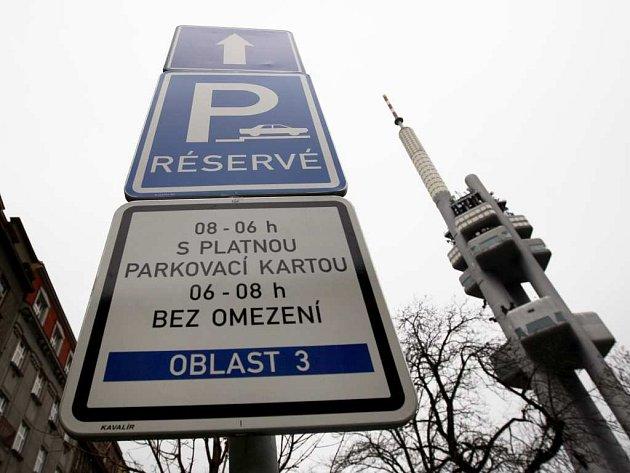 Zona placeného stání na Praze 3. Ilustrační foto.
