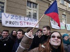 Protest studentů. Ilustrační foto.