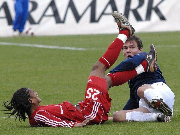 Stejně jako Paulo Rodrigues (vlevo) byl i jeho Třinec po zápase na zádech a zralý na ručník. Souboj svádí s krčským Švejdou.