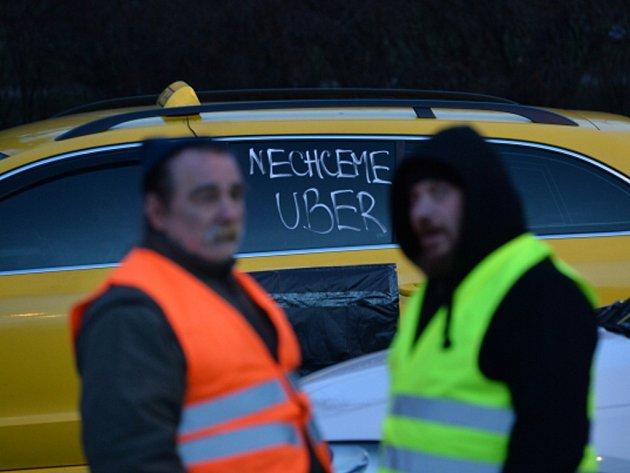 Protest taxikářů. Ilustrační foto.