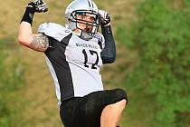 RADOST! Rozhodují touchdown finále zaznamenal Daniel Balažovič z Prague Black Hawks.