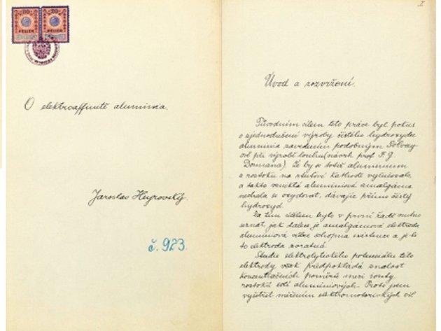 Disertace Jaroslava Heyrovského na FFUK.