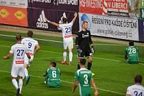 FK Mladá Boleslav - Bohemians Praha 1905, 4. července 2020 v Mladé Boleslavi. Lukáš Budínský z Boleslavi se raduje ze vstřeleného gólu.