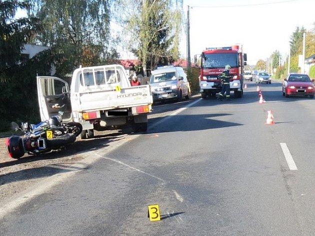 Dopravní nehoda v Louňovicích.