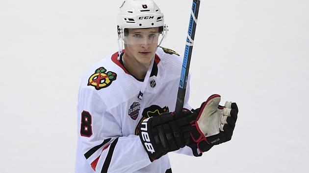 Dominik Kubalík  - Utkání NHL Global Series: Philadelphia - Chicago, 4. října 2019 v Praze.