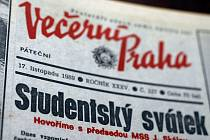 TO JEŠTĚ NETUŠILI... (Část titulní strany Večerní Prahy ze dne 17. listopadu 1989.)