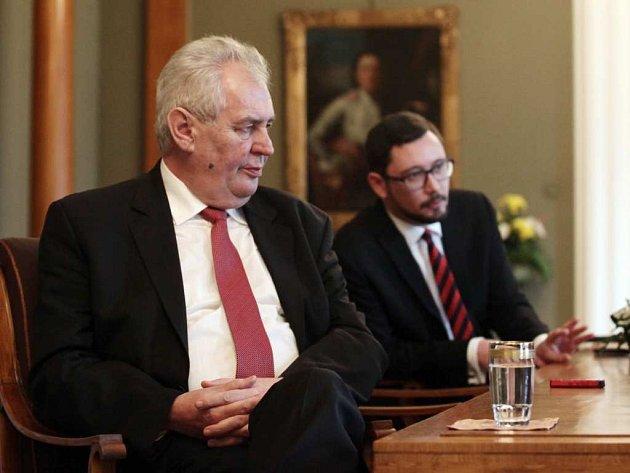 Prezident Miloš Zeman a mluvčí Jiří Ovčáček