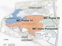 Plán parku U Čeňku. Na mapce je patrné, že území má propojit sídliště Černý Most s Dolními i Horními Počernicemi, Kyji a Hostavicemi.