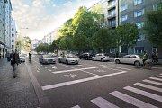 """Zlepšením dopravního řešení před """"Malým Berlínem"""" dojde k rozšíření chodníku a doplnění druhé řady stromořadí."""
