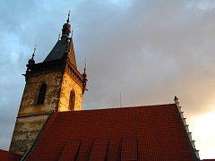 Věž Novoměstské radnice v Praze.