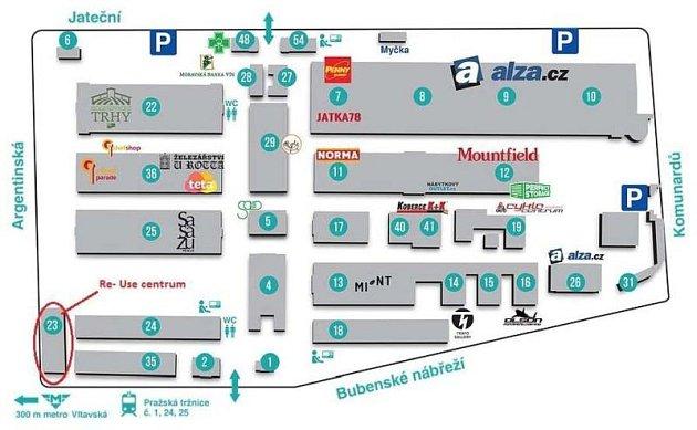 Mapka sumístěním Re-use centra