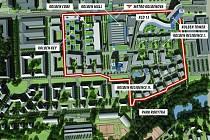 Budoucí moderní městská čtvrť Nové Vysočany, vizualizace.