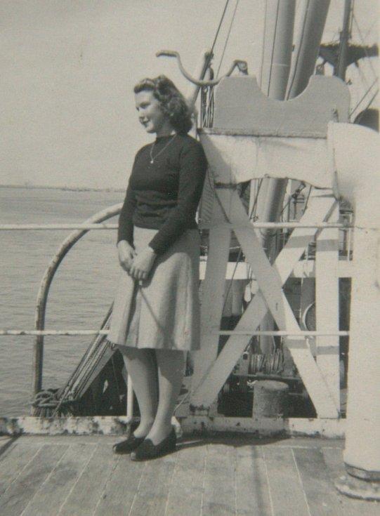cesta lodí z Kanady v roce 1947.
